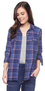 Splendid Plaid Shirt Flannel Button Down Shirt Dark Wash