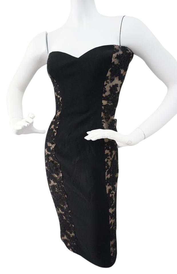 Black Lace Strapless Cocktail Dress