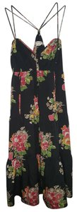 American Eagle Outfitters short dress Black Multi Flowers Ruching on Tradesy