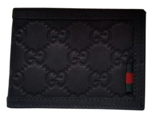 7adcd5fd293f Gucci *NEW* Men's Guccissima Rubberized Leather GG Slim Bi-fold Black Wallet