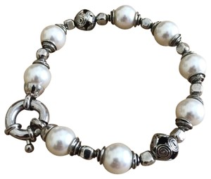 Appalachian Spring Silver Bead and Faux Pearl Bracelet