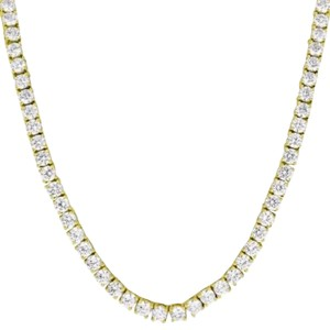 14k Gold Tone Tennis Necklace Solitaire 18 Simulated Diamond 4mm Iced Out Chain