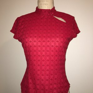 A|X Armani Exchange Asian-inspired Cotton Top Red