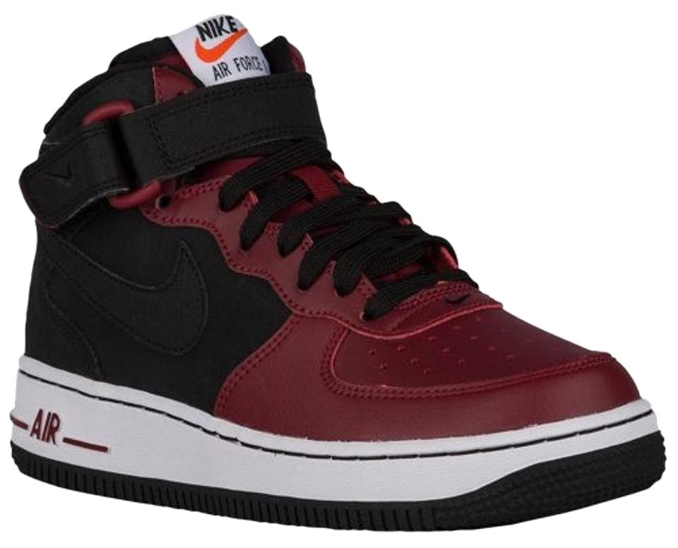 Nike Black and Burgundy Youth Sneakers Air Force 1 Mid (Black Black Team  Red White) Sneakers c0ef53b3e