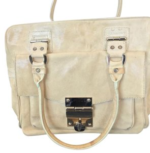 Alexis Hudson Nm Leather Turnlock Work Satchel in Ivory