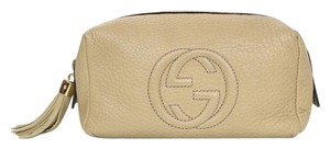 Gucci Gucci Taupe Leather SoHo Cosmetic Bag