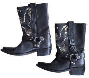 Golden Goose Deluxe Brand Studded Leather Cowboy Black Boots