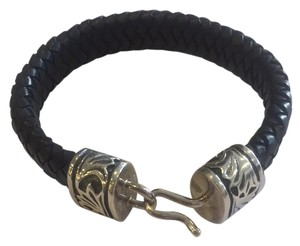 Mignon Faget Black and Silver, Leather and Sterling Silver, Bracelet