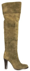 Ralph Lauren Collection Suede Italian Over The Knee Olive Boots