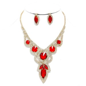 Other 2pc Red And White Round Teardrop Rhinestone Crystal Necklace Set