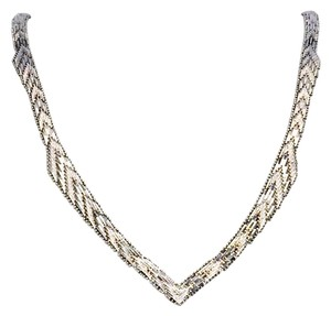 Anthropologie Hand Crafted Italian Vintage Riccio Chevron V Shape Sterling Necklace