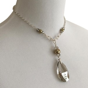 White House | Black Market NWT Simulated Quartz Pendant with Silver Tone Chain