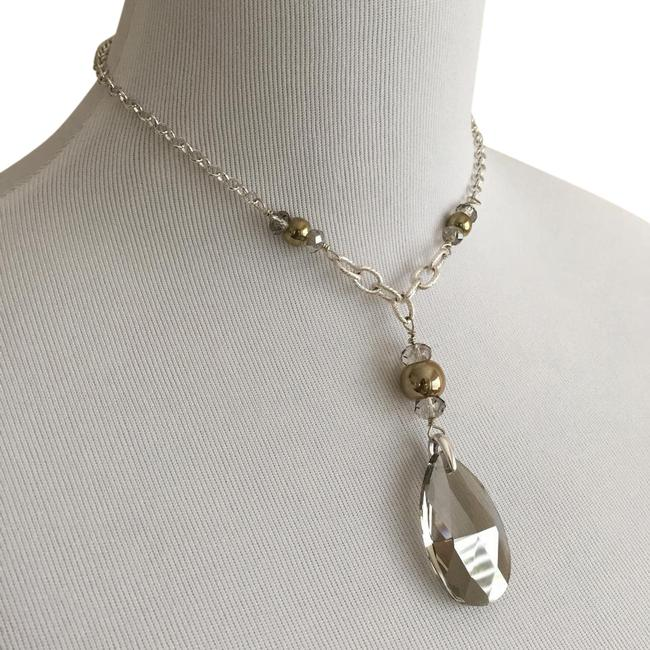 White House | Black Market Silver Gold Brown Simulated Quartz Pendant with Chain White House | Black Market Silver Gold Brown Simulated Quartz Pendant with Chain Image 1