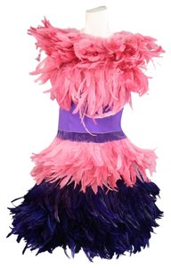 Moschino Feathered Italian Cocktail Velvet Layered Dress