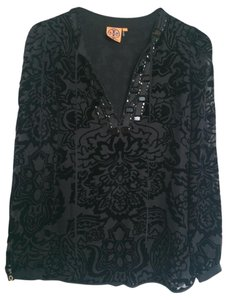 Tory Burch Silk Jewel Embellished Top Black