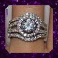 Other New Stunning 3pc 3ct Plus White Topaz and CZ 925 Wedding Set Image 2