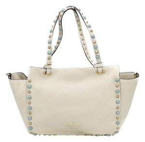Valentino Studded Leather Tote in Tan