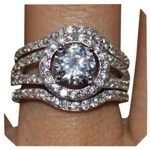 Other New Stunning 3pc 3ct Plus White Topaz and CZ 925 Wedding Set