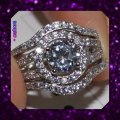 Other New Stunning 3pc 3ct Plus White Topaz and CZ 925 Wedding Set Image 3