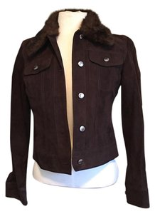 fc3503c08f4f Michael Kors Silver Hardware Jean Brown suede leather Womens Jean Jacket