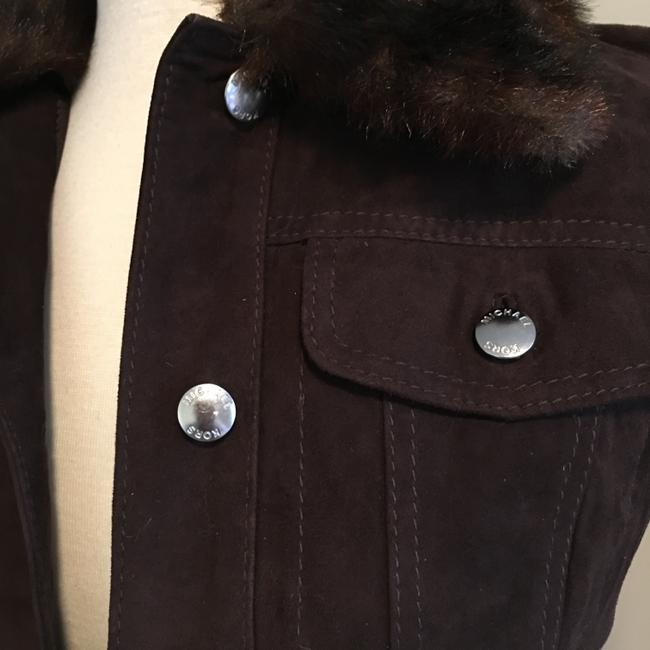 Michael Kors Silver Hardware Jean Brown suede leather Womens Jean Jacket Image 1