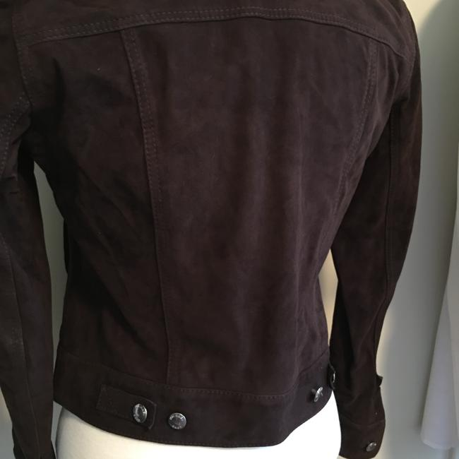 Michael Kors Silver Hardware Jean Brown suede leather Womens Jean Jacket Image 2