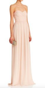 Monique Lhuillier Champagne Chiffon Strapless Sweetheart Ruched Formal Bridesmaid/Mob Dress Size 6 (S)