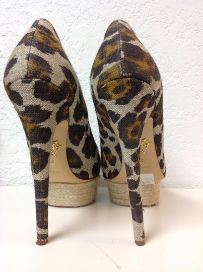 Charlotte Olympia Animal Print Canvas Size 37.5 Beige Pumps Image 10