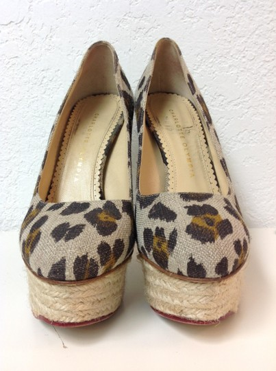 Charlotte Olympia Animal Print Canvas Size 37.5 Beige Pumps Image 11