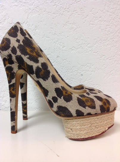 Charlotte Olympia Animal Print Canvas Size 37.5 Beige Pumps Image 3