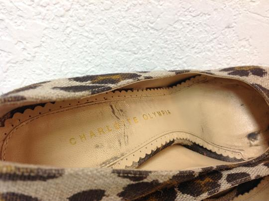 Charlotte Olympia Animal Print Canvas Size 37.5 Beige Pumps Image 5