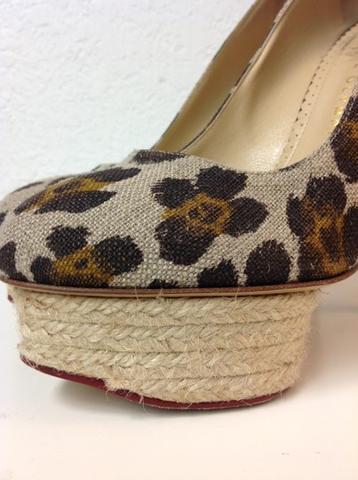 Charlotte Olympia Animal Print Canvas Size 37.5 Beige Pumps Image 7