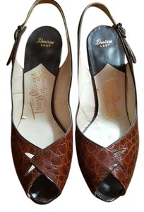 Troylings Leather Vintage Slingback Brown Pumps