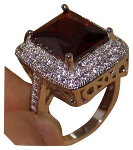 Other New Very Large Red Garnet & White Sapphire 18K White GF Ring