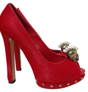 Alexander McQueen Calf Hair Sz 37.5 Red Pumps
