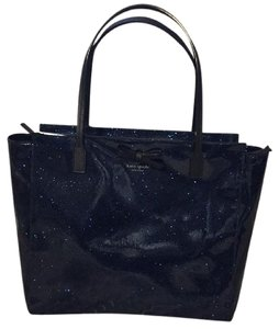 Kate Spade Tote in navy blue with shine.