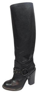 Vera Wang Lavender Label Harness Knee High Tall Black Boots