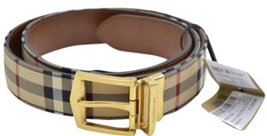 Burberry Burberry Men's Reversible Horseferry Check and Leather Belt 45