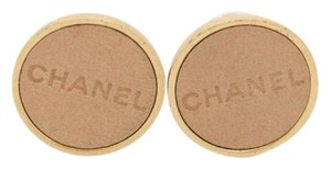 Chanel #9217 beige lamskin logo gold hardware clip on earrings