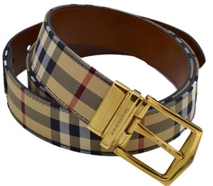 Burberry Burberry Men's Reversible Horse Ferry Check and Leather Belt 105 48