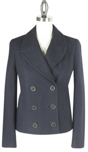 Juicy Couture Womens Peacoat Double Breasted Military Jacket