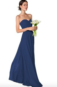 Joanna August Chiffon Whitney Wrap Skirt and Ashley Top In Navy/ Tangled Up In Blue Formal Bridesmaid/Mob Dress Size 6 (S)
