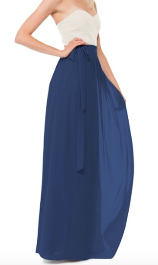Joanna August Chiffon Whitney Wrap Skirt and Ashley Top In Navy/ Tangled Up In Blue Formal Bridesmaid/Mob Dress Size 6 (S) Image 2