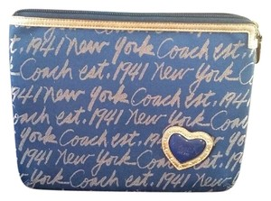 Coach Coach ipad case sleeve New York print Navy Gold