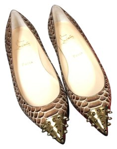 Christian Louboutin Women 7 1/2 8 Gold Snakeskin Brown Flats