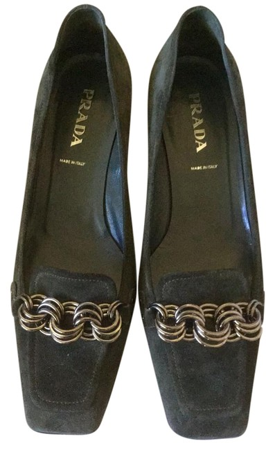Item - Deep Green Suede Leather Low Heel Formal Shoes Size US 6 Regular (M, B)