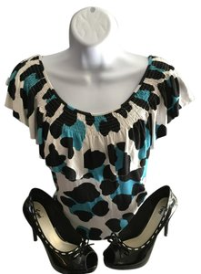 Michael Kors Top Black,white, turquoise