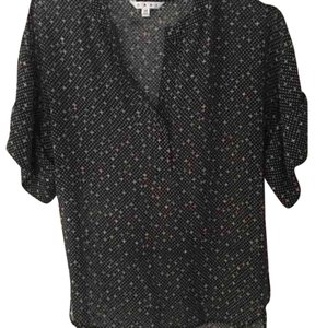 CAbi Top Black with pink and olive dots