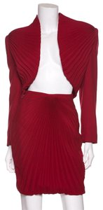 Versace Versace Red Pleated Skirt Suit