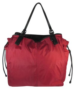 Burberry Red Nova Check Leather Large Tote